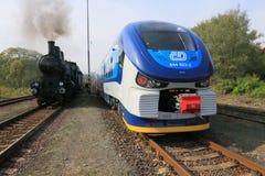Treno e treno Fotografia Stock