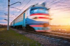 Treno elettrico del passeggero ad alta velocità nel moto Fotografie Stock