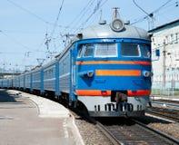 Treno elettrico russo alla stazione Immagine Stock Libera da Diritti
