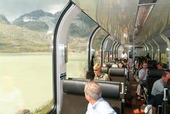 Treno espresso di Bernina, patrimonio mondiale dell'Unesco Fotografie Stock