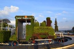 Treno fatto dalle piante per la decorazione della via Fotografie Stock Libere da Diritti