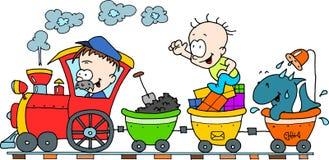 Treno felice Fotografie Stock