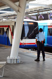 Treno ferroviario elettrico di BTS a Bangkok Tailandia Fotografia Stock