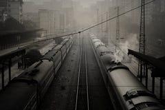Treno ferroviario Station_2 Fotografie Stock Libere da Diritti