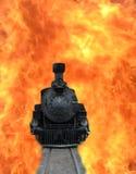 Treno in fiamme Immagini Stock Libere da Diritti