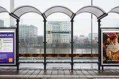 Treno Francoforte Germania di Universitaetsklinikum geometrica Fotografie Stock Libere da Diritti