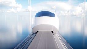 Treno futuristico della monorotaia di Speedly Concetto di futuro La gente e robot Acqua e energia eolica Animazione realistica 4K illustrazione vettoriale