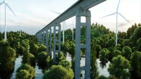 Treno futuristico e moderno che passa sulla mono ferrovia Concetto futuro ecologico Vista aerea della natura 4K fotorealistico illustrazione vettoriale