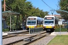Treno leggero Dallas Texas della ferrovia Fotografia Stock