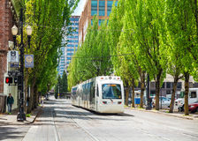 Treno leggero della tranvia di Portland Immagini Stock