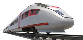 Treno lungo sulla vista laterale bianca e Fotografia Stock Libera da Diritti