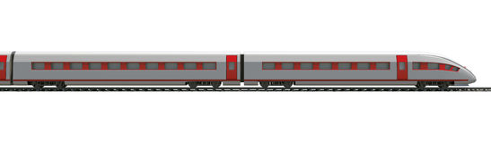 Treno lungo sulla vista laterale bianca e Fotografia Stock