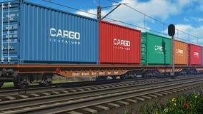 Treno merci con i contenitori di carico illustrazione di stock