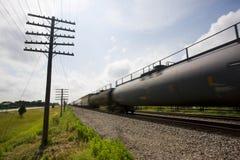 Treno merci di Illinois U.S.A. nel moto Fotografia Stock Libera da Diritti
