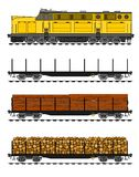 Treno merci stile americano illustrazione vettoriale