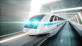 Treno moderno futuristico, azionamento veloce della monorotaia in tunnel di fi di sci, coridor Concetto di futuro Animazione real illustrazione vettoriale