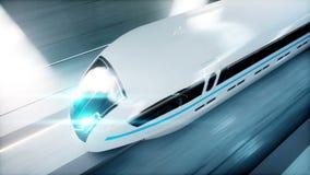 Treno moderno futuristico, azionamento veloce della monorotaia in tunnel di fi di sci, coridor Concetto di futuro Animazione real royalty illustrazione gratis