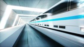 Treno moderno futuristico, azionamento veloce della monorotaia in tunnel di fi di sci, coridor Concetto di futuro Animazione real illustrazione di stock