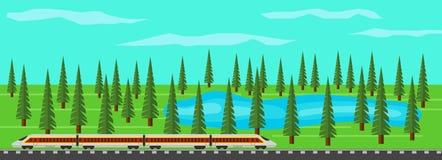 Treno moderno sulle rotaie nel paesaggio pittoresco con il lago e la foresta royalty illustrazione gratis