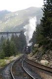 Treno in nebbia Fotografia Stock