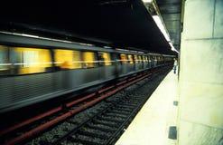 Treno nel movimento Fotografie Stock
