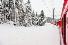 Treno nella neve Fotografia Stock Libera da Diritti
