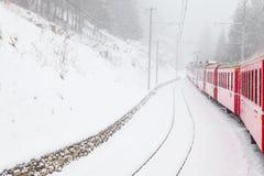 Treno nella neve Fotografia Stock