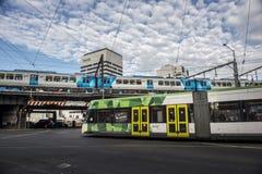 Treno pubblico nella città di Melbourne Fotografia Stock