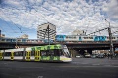 Treno pubblico nella città di Melbourne Immagine Stock