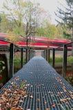 Treno rosso che passa rapidamente un lago con un ponte in Germania fotografia stock