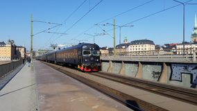 Treno a Stoccolma Immagine Stock
