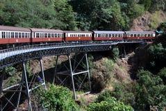 Treno sul ponticello ferroviario Immagine Stock Libera da Diritti
