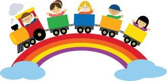 Treno sul Rainbow Fotografia Stock