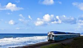 Treno sulla scogliera dell'oceano Fotografie Stock Libere da Diritti