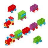 Treno Toy Row Isometric View del trasporto Vettore Fotografia Stock