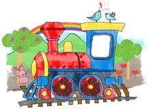 Treno - treno sveglio del giocattolo del fumetto Fotografia Stock Libera da Diritti