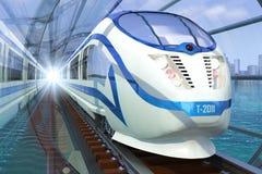 Treno in un traforo Immagine Stock Libera da Diritti