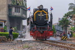 Treno a vapore alla ferrovia dello stato della Tailandia 119 anni di anniversario Immagini Stock Libere da Diritti