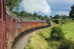 Treno a vapore che tira le carrozze ferroviarie Fotografia Stock