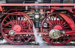 Treno a vapore nella neve Fotografia Stock