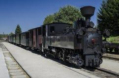 Treno a vapore storico in Nova Bystrice, repubblica Ceca Immagini Stock Libere da Diritti