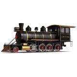 Treno a vapore su un'illustrazione bianca 3D Fotografia Stock Libera da Diritti