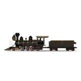 Treno a vapore su un'illustrazione bianca 3D Immagine Stock Libera da Diritti