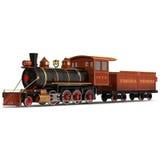 Treno a vapore su un'illustrazione bianca 3D Fotografia Stock