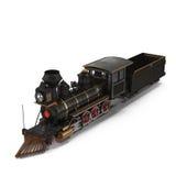 Treno a vapore su un'illustrazione bianca 3D Fotografie Stock