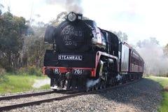 Treno a vapore sulle piste Fotografie Stock