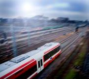 Treno veloce con la sfuocatura di movimento Fotografie Stock Libere da Diritti