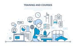 Trenować, kursy, dystansowy uczenie, technologia, wiedza, nauczanie i umiejętności, ilustracja wektor