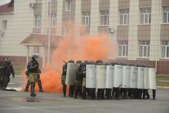 Trenować rosjanin policja zmusza specjalne pacnięcie Obrazy Royalty Free