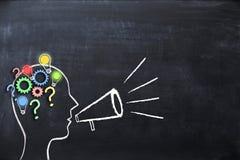 Trenowania pojęcia †'wiedza i pomysły dzieli z ludzkiej głowy kształtem, megafon i megafon na blackboard Zdjęcia Stock